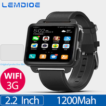 LEM4 Pro 2.2 بوصة شاشة الجيل الثالث 3G ساعة رقمية أندرويد 5.1 لتحديد المواقع واي فاي 1GB + 16GB 1200Mah بطارية كبيرة بلوتوث ساعة ذكية للرجال والنساء