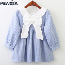 Menoea Girls Dress New Autumn Dresses Children Clothing Puff Sleeve Princess Cute Spring Outdoor Striped Bow Clothes
