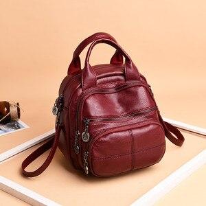 Image 3 - Korean Style Leisure Soft Leather Female Backpack 2018 Multifunction Travel Bag Mini Backpack Mom Women Shoulder Bag Sac A Dos