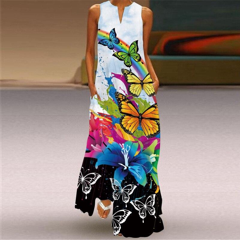 MOVOKAKA New White Dress 2021 Casual Plus Size Sleeveless Long Dresses Summer Woman Butterfly Print Girls Beach Maxi Dress Women 3