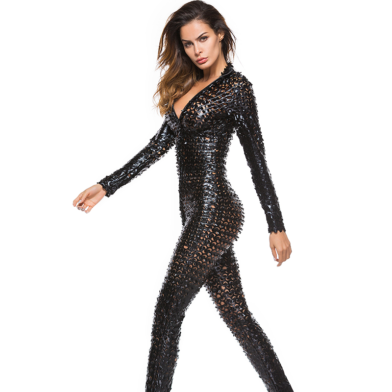 Nightclub Party Overalls Shiny Erotic Pole Dance Bodysuit Women Mesh Hole Zipper Long Sleeve Faux Leather Sexy Jumpsuit Costumes
