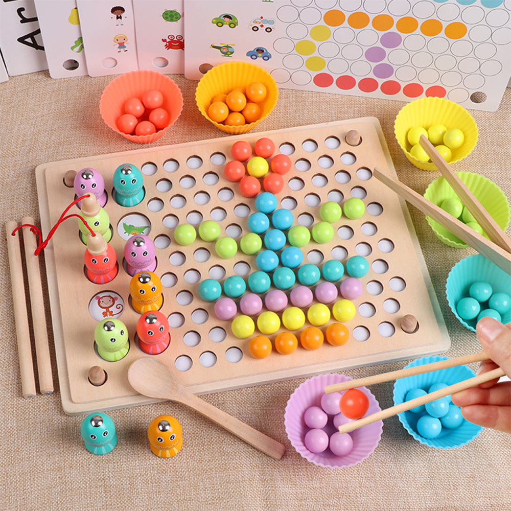 Wooden Toys Educational Toys For Children Hands Brain Training Clip Beads Puzzle Board Math Game Funny Baby Toy Child Gifts