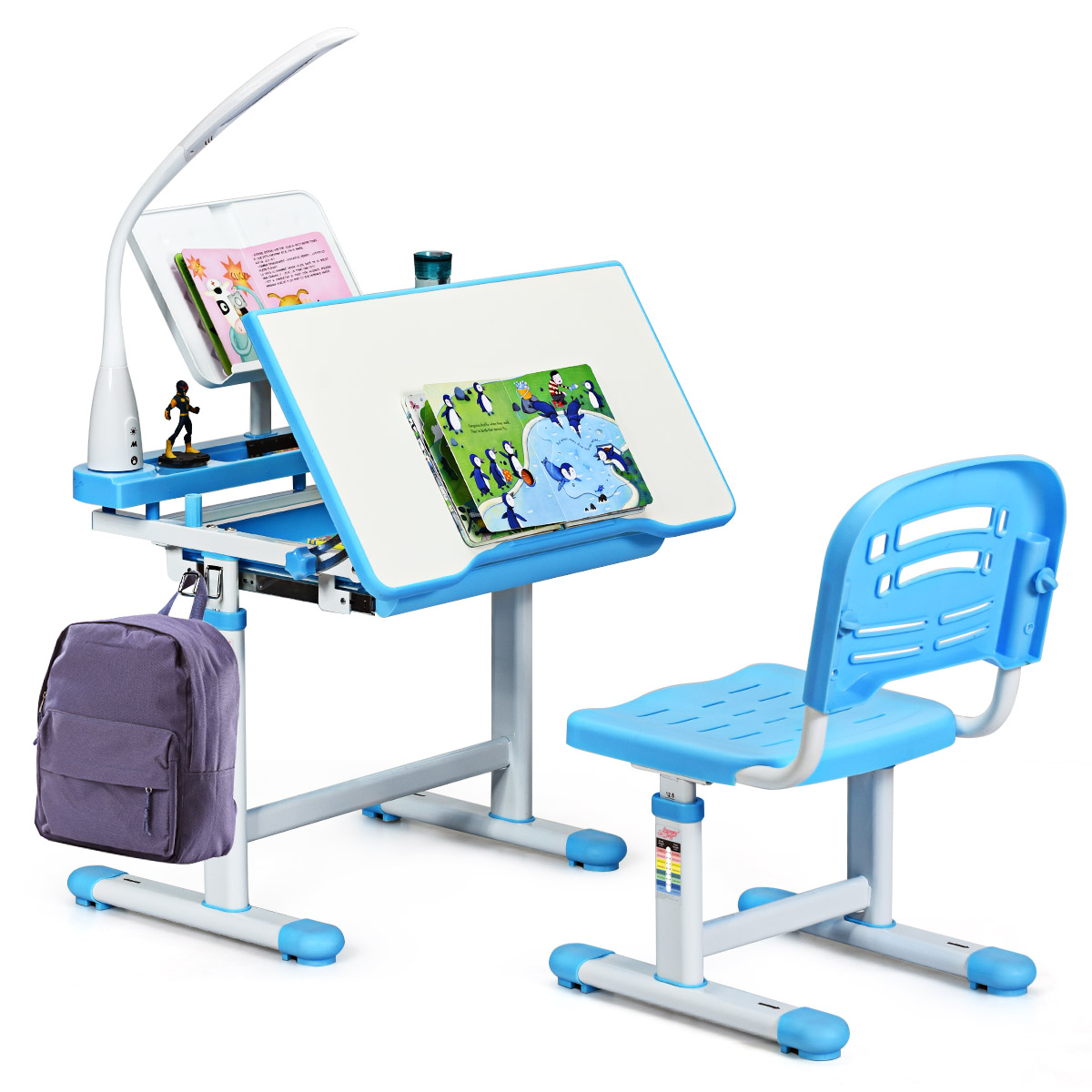 Kids Study Desk &Chair Set Adjustable Height Writing Table W/Lamp Bookstand Blue