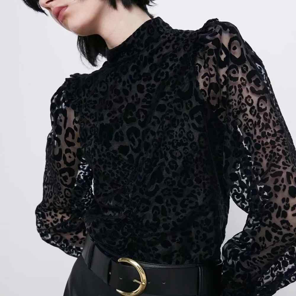 ZA blouse shirt vrouwen black Leopard gedrukt tops doorkijkmodel chiffon mouwen Casual dames blouse vrouwelijke vrouw kleren