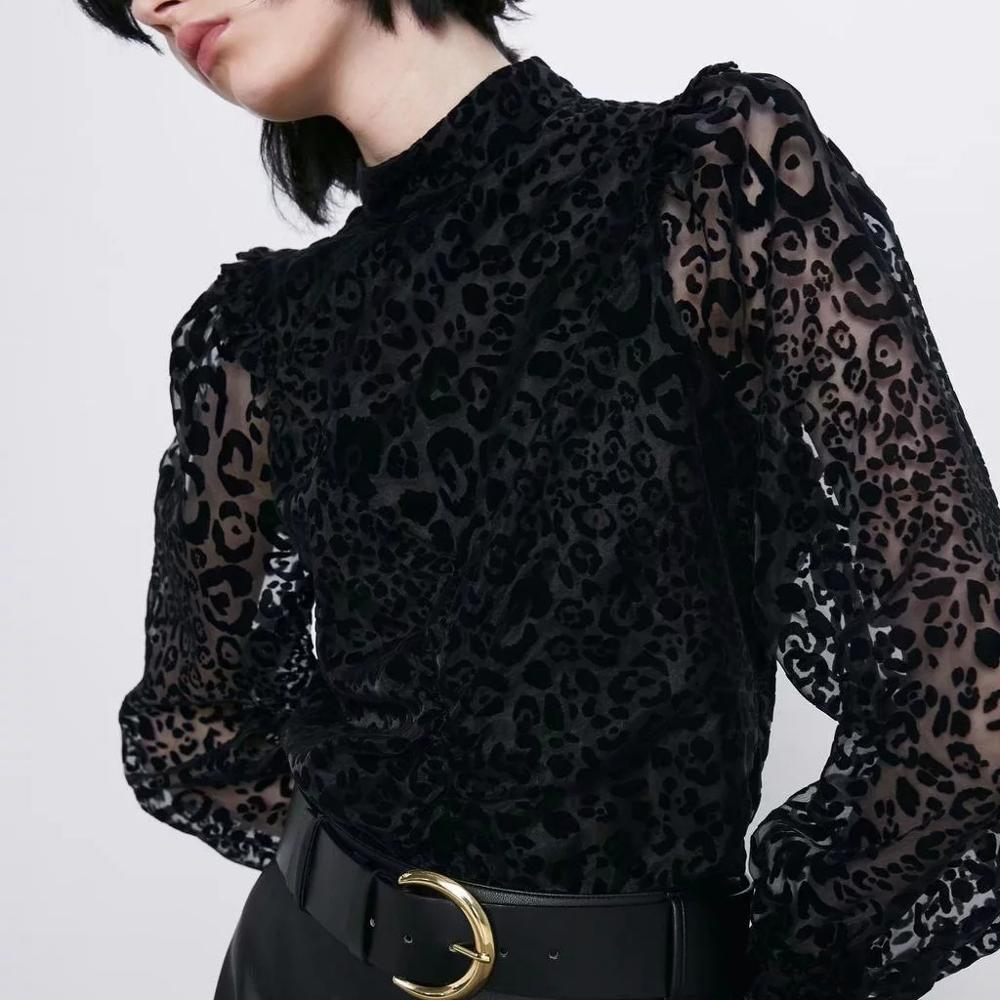 ZA Blouse Shirt Women Black Leopard Printed Tops See-through Chiffon Sleeve Casual Ladies Blouse Female Woman Clothes