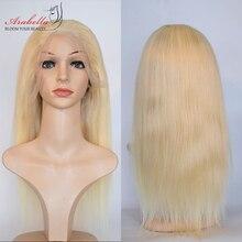 Blonde Lace Front Wig Brazilian Straight Remy Human Hair Wigs Arabella Pre Plukced 180 Density 613