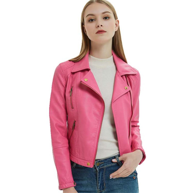 Hot Pink Cropped Zip Up Faux Leather Biker Jacket for Women Cute Ladies Slim Fit Slant Zipper Black PU Leather Moto Jacket