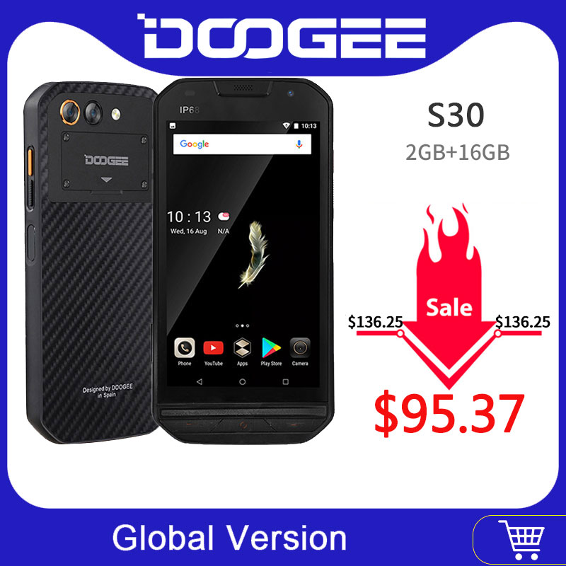 IP68 Level DOOGEE S30 Smartphone Side Fingerprint 2GB 16GB Dual Camera 5580mAh 5V/2A Quick Charge 5.0