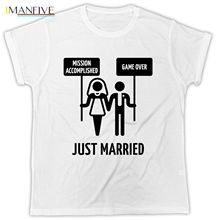 Just Married T Shirt Groom New Management Hen Stag Do Mens Love Hearts TShirt 100% Cotton Short Sleeve O-Neck Tops Tee Shirts