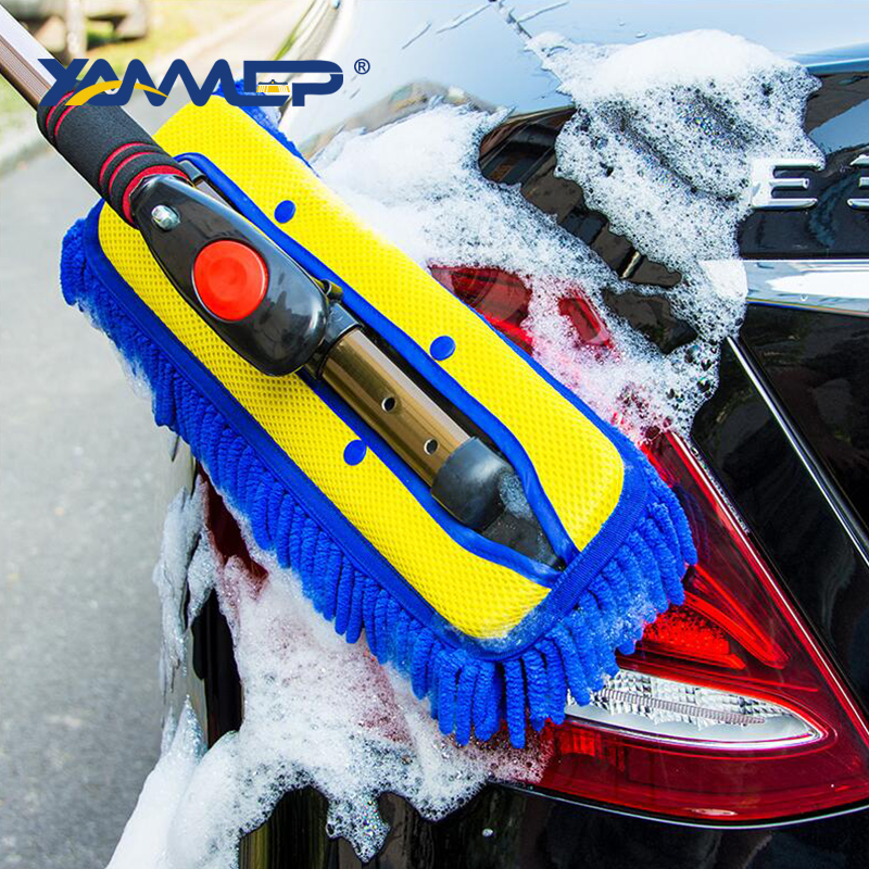 Car Wash Brush Cleaning Mop Telescopic Alloy Handle Car Cleaning Tool Dust Removal Brush Microfiber Cloth Car Accessories Xammep