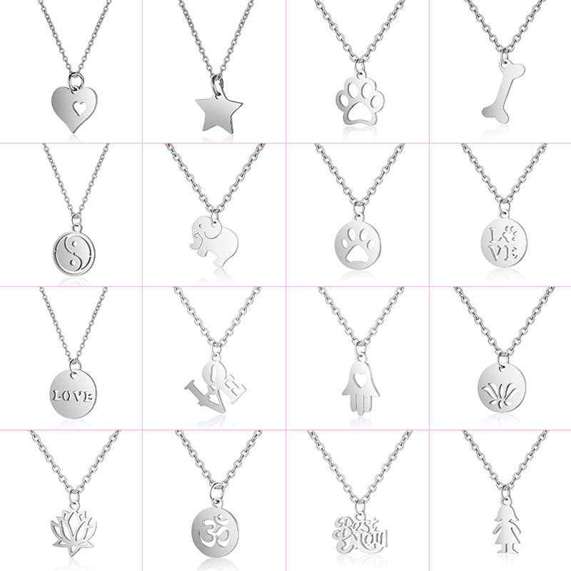 316L Stainless Steel Necklace Choker Jewelry 40cm+ Fatima Heart Star Dog Paw Lotus Elephant Pendant Necklace Never Change Color