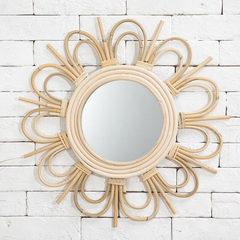 Rattan Mirror Round Makeup Dressing Bathroom Wall Hanging Mirror Innovative Art Decoration Nordic Primary Color Wicker Decor