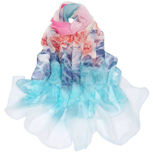 ELIfashion New Fashion Women Big Flora Scarf Long Soft Single Rim Gradual Rim Co