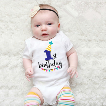 Newborn Baby Short-sleeved Baby Rompers My First Birthday Letter Print Girls Boys Clothes Baby Boy Birthday Party Clothes 0-24M