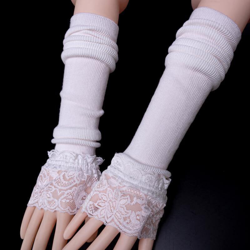Siyah beyaz kış örme dantel kaplı kol kollu elastik kol eldiven sürüş kadınlar Lady orta uzunluk sahte kollu sahte manşetleri