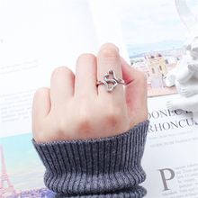Japan Korean Fashion Rings 2019 Women Personalized Knuckle Ring 925 Sterling Sliver Two Heart Love Adjustable Gift KJZ0411
