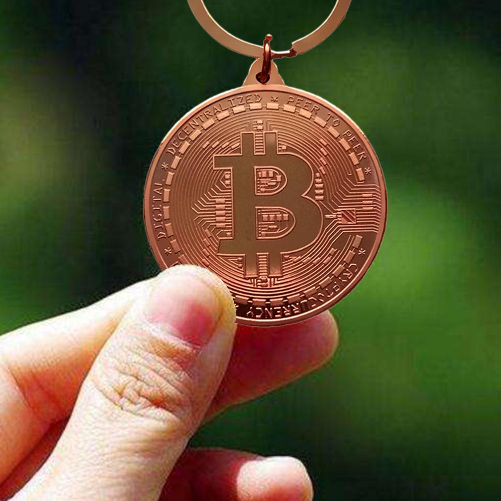 Gold Plated Bitcoin Coin Key Ring Collectible Gift Casascius Bit Coin BTC Coin Art Collection Physical Commemorative Key Chain-4