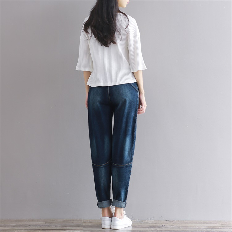 Spring And Autumn New Style Loose-Fit Jeans Women's Korean-style Versatile Skinny Trousers Casual High-waisted Large Size Harem