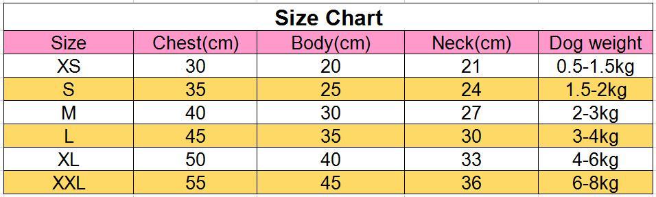 4腿狗衣服尺寸