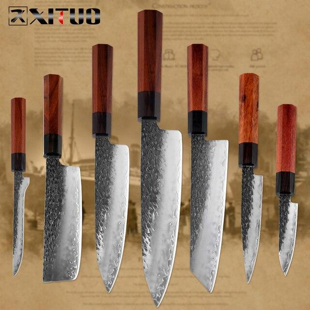 Xituoキッチンシェフナイフ3層鋼手作り鍛造シャープ包丁kiritsuke骨抜き三徳果物ナイフ調理ツール