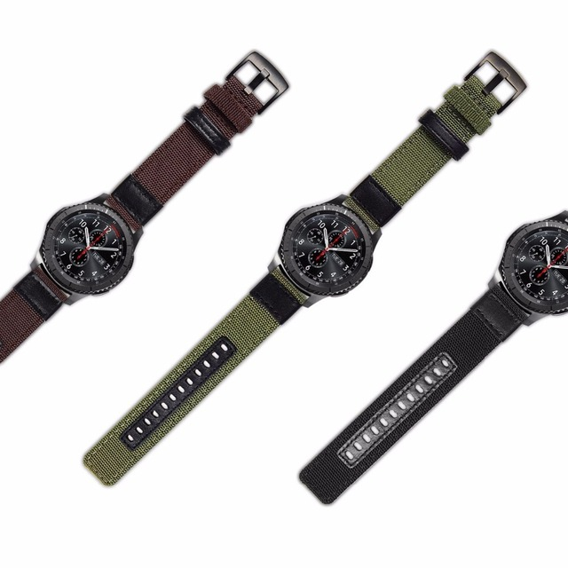 strap For Samsung Galaxy watch 3 46mm band gear s3 Frontier Classic nylon 22mm 20mm WatchWoven Nylon Band for 20mm 22mm Wrist 5