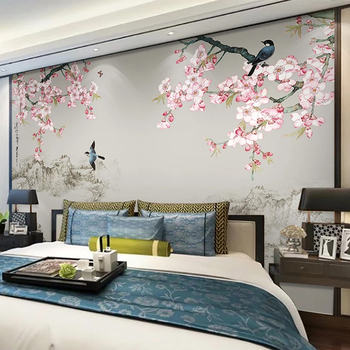 Custom Photo Wallpaper Chinese Style 3D Classic Peach Blossom Flower Mural Living Room Bedroom Study Background Wall Painting