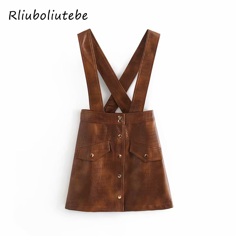 PU Leather Overall Skirt Women Pockets Buttons Spaghetti Strap Mini Skirt Sexy Retro Vintage A Line Autumn Winter Sexy Skirt