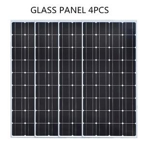 Image 3 - De vidrio de panel Solar 100W 200W 300W 400W rígido Panel Solar monocristalino de la célula solar 12V 12V cargador de batería solar casa techo barco