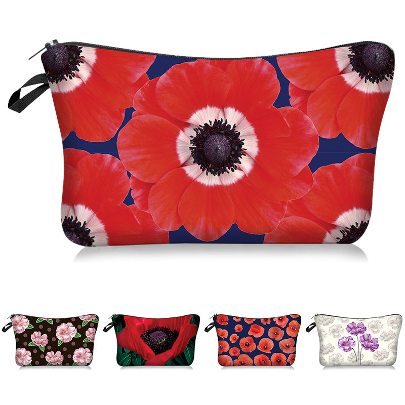Women Makeup Bag Organizer Bag Pouch Beauty Zipper Travel Bag Gift Polyester Cosmetic Pack Poppy Flowers Printing Pattern