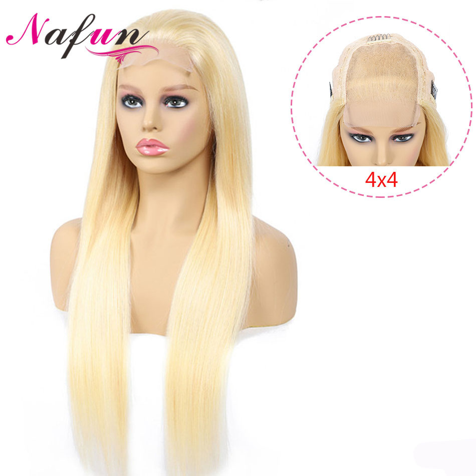NAFUN 4x4 Lace Closure Wigs 613 Color Straight Human Hair Wigs Non-Remy Peruvian Blonde Lace Front Closure Wig 150% Density