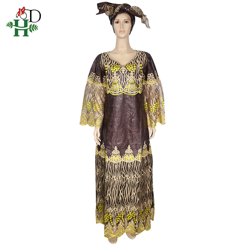 H&D African Dresses For Women Embroidery Lace Dress With Head Wraps South Africa Lady Clothes Bazin Riche Dashiki Long Dresses