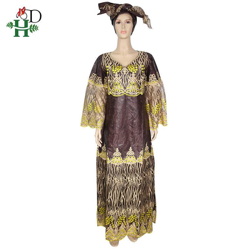 H & D אפריקאי שמלות לנשים רקמת תחרה שמלה עם ראש כורכת דרום אפריקה גברת בגדי bazin riche דאשיקי ארוך שמלות