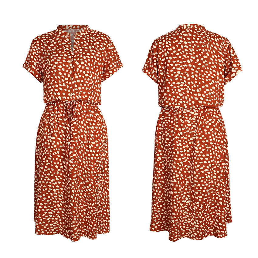 Dots Print White Short Sleeve Midi Boho Beach Dress 16