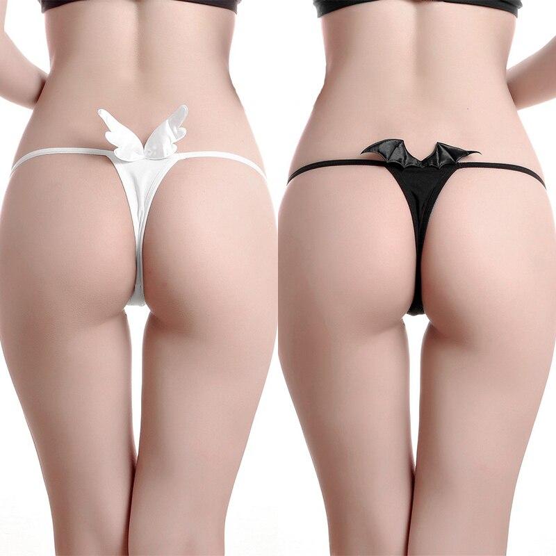 Womens Anime Cosplay Panties Cute G-String Thongs For Bikini Lingerie Angel Devil Wings Underwear