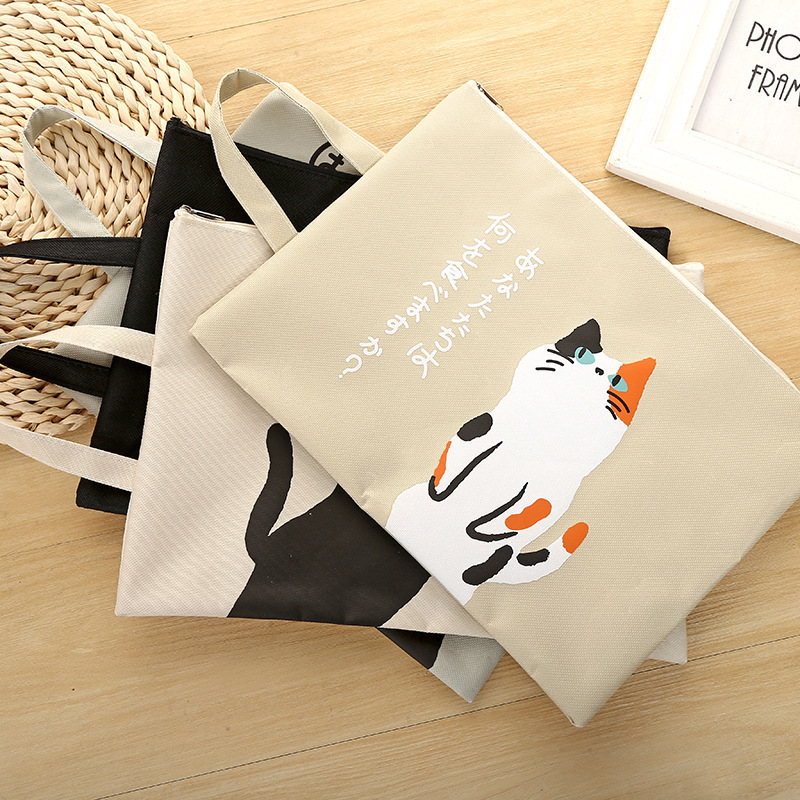 Coloffice  A4 File Bag Creative Cartoon Cute Cat Canvas Office Student Zipper Learning Materials Storage Bag Filing Product 1PC