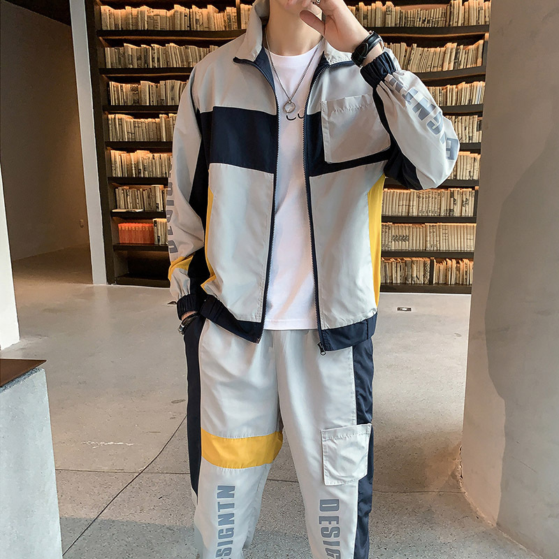 2019 Autumn New Style MEN'S Casual Suit Long Sleeve Fashion Hoodie Gymnastic Pants Two-Piece Set Youth Men'S Wear