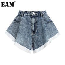 [EAM]-pantalones cortos de pierna ancha para mujer, vaqueros con volantes azules, Stitch, holgados, de cintura alta, a la moda, para primavera y verano, 1Y104