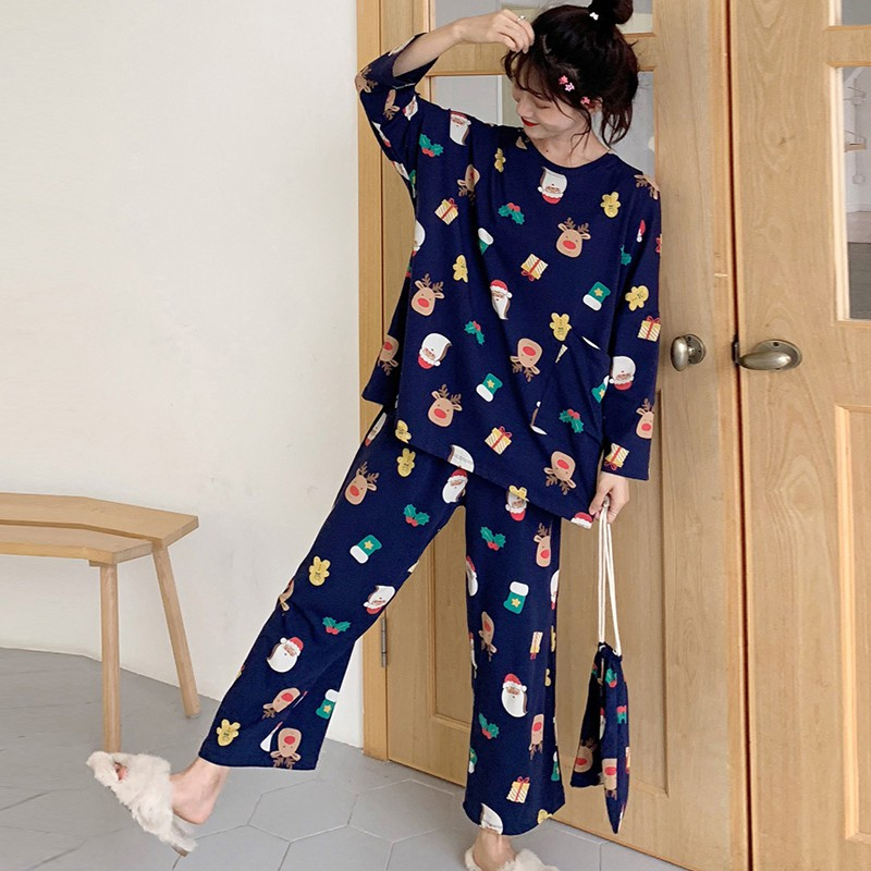 Loose Cartoon Print Long Sleeve Sleepwear Set Plus Size Home Wear Round Neck Top + Trousers Suits 3 PCS Pajamas Suit