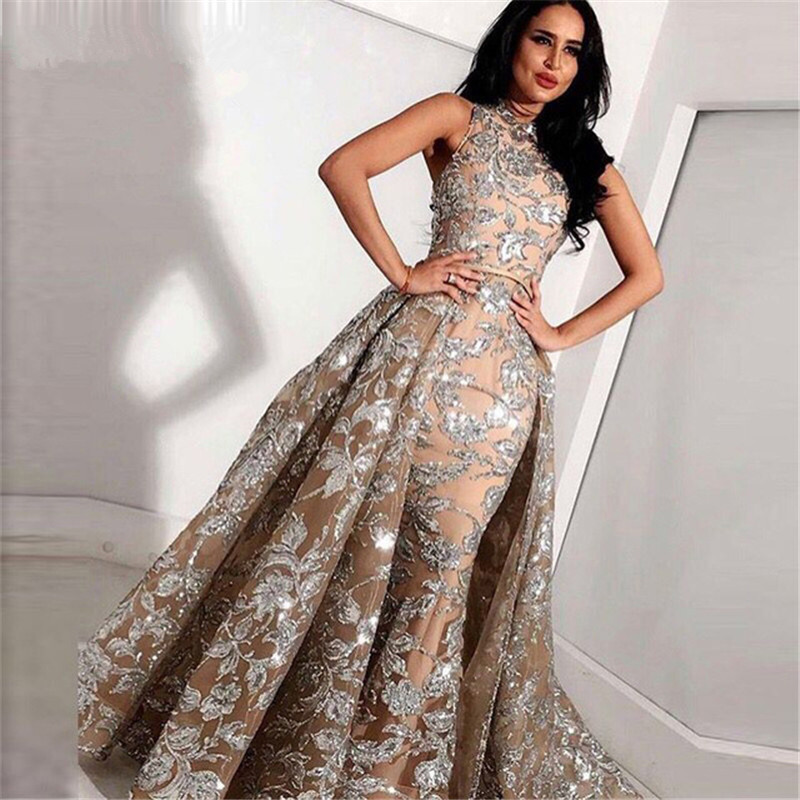 Sparkle Muslim Evening Dresses 2019 Mermaid High Collar Appliques Lace Dubai Saudi Arabic Long Evening Gown