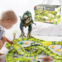 Dinosaur Railway Magical Glowing Flexible Track Car Toys Children Racing Bend Rail Track Electronic Car DIY Toy For Kids Gift