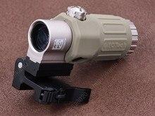 Tactical Red Dot Sight Rifle Scope G33 3x Magnifier Portata del Fucile con Picatinny Rial Flip Side QD Mount Base TAN m1243