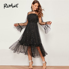ROMWE Frilled Neck Bell Sleeve Star Mesh Dress Women Autumn Glamorous Long Dress Black Party Dresses High Waist Maxi Dress bell sleeve contrast lace tie waist maxi dress