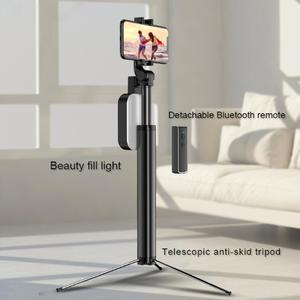 Image 3 - Handheld Hidden Bluetooth Tripod 3 in 1 Selfie Stick w/ Beauty light Extendable Selfie timer Fill Light for iPhone Samsung Phone