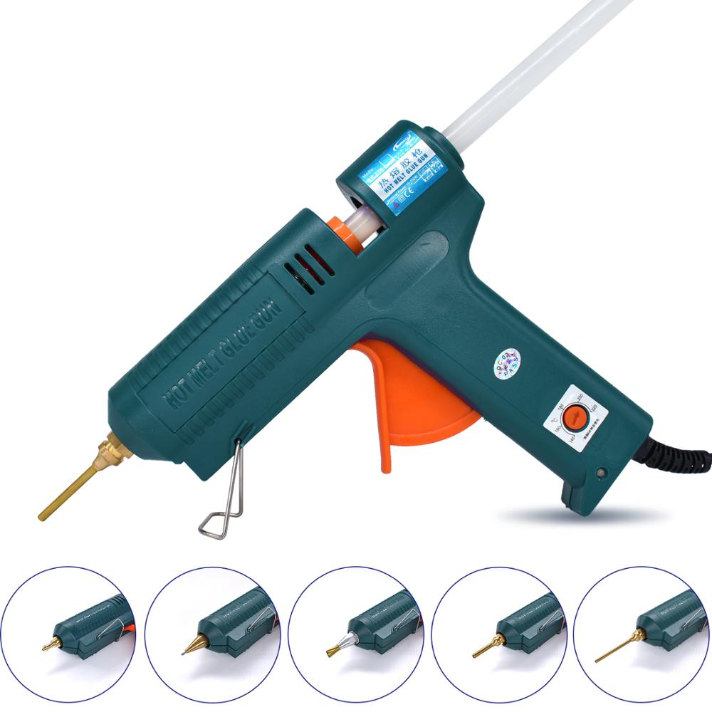 Hot Glue Gun 150W With 6 Copper Nozzle Temperature Adjustable Craft Repair Tool Professional Glue Gun DIY Thermo Tool Luxury Set