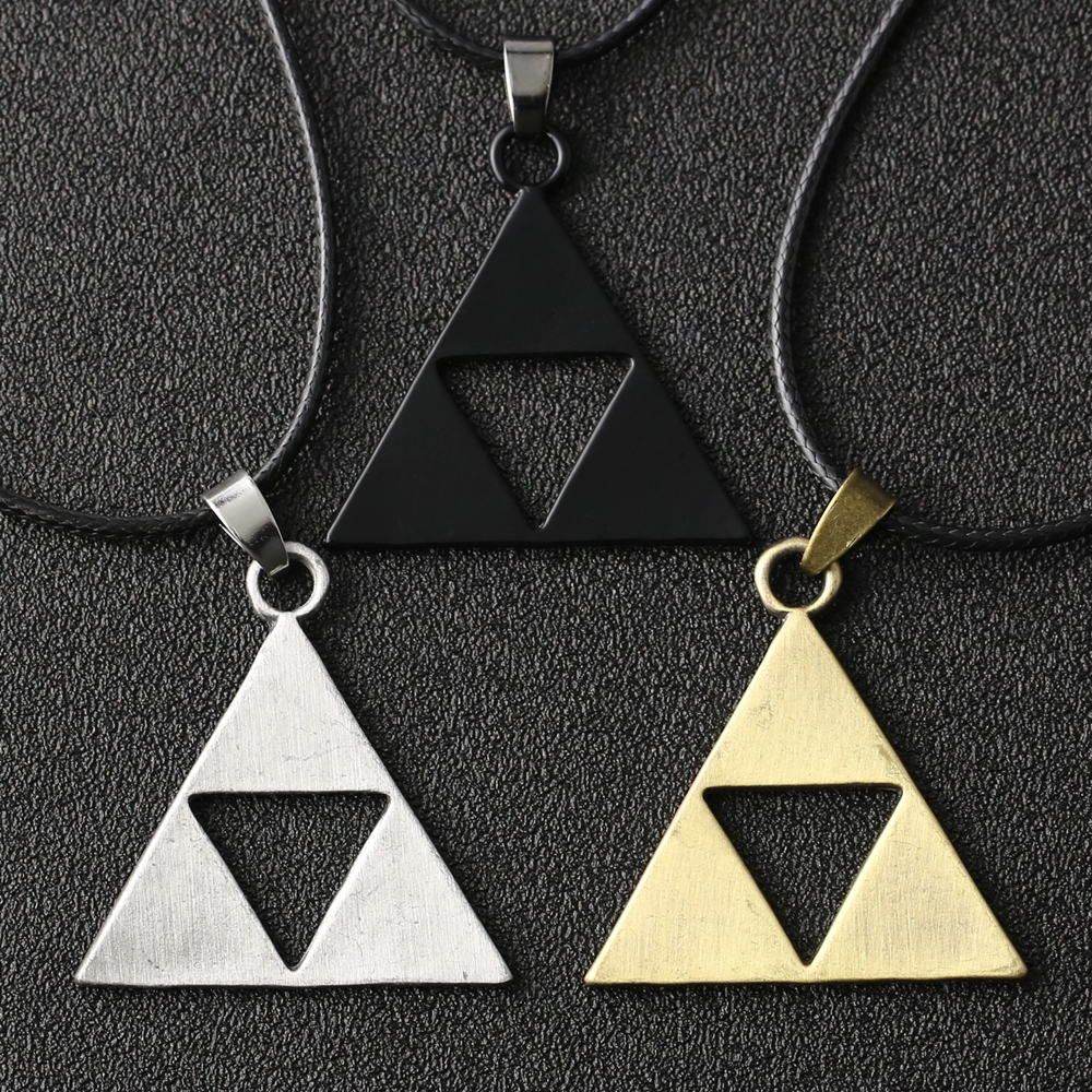 The Legend Of Zelda Necklace Triforce Trinity Triangle Amulet Black Pendant Fashion Vintage Game Jewelry Cosplay Women Wholesale