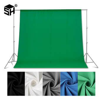 Green screen Photography Backdrops Green/White/Black/Blue/Grey Muslin Polyester-cotton Professional Background for Photo Studio - DISCOUNT ITEM  25% OFF All Category