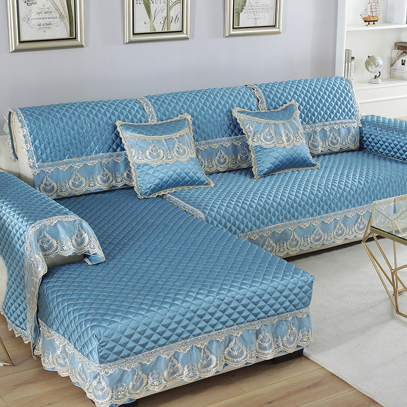 Image 4 - Waterproof Quilted Sofa Couch Cover Towel Jacquard Lace Silk Chair Cover Arm Towel Cover Furniture Protector Home Decoration D20