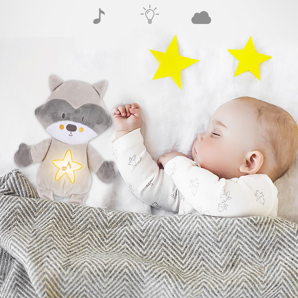 Baby Sleep  Plush Toy Soother Sound Machines Baby Gift with Night Light 8 Soothing Sounds for Travel Sleeping Baby Carriage