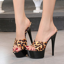 Ladies Slippers Nightclub Sexy High Heel Slippers Leopard Sandals Thick 15 Cm Shoes Slippers Large Size Shoes