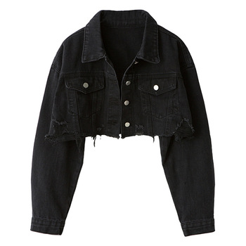 2019 Loose Skinny Jacket Short Holes Cowboy Loose Coat Woman 10